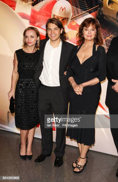 Christina Ricci Emile Hirsch and Susan Sarandon arrive for the UK premiere of Speed Racer at the Empire Leicester Square in central London