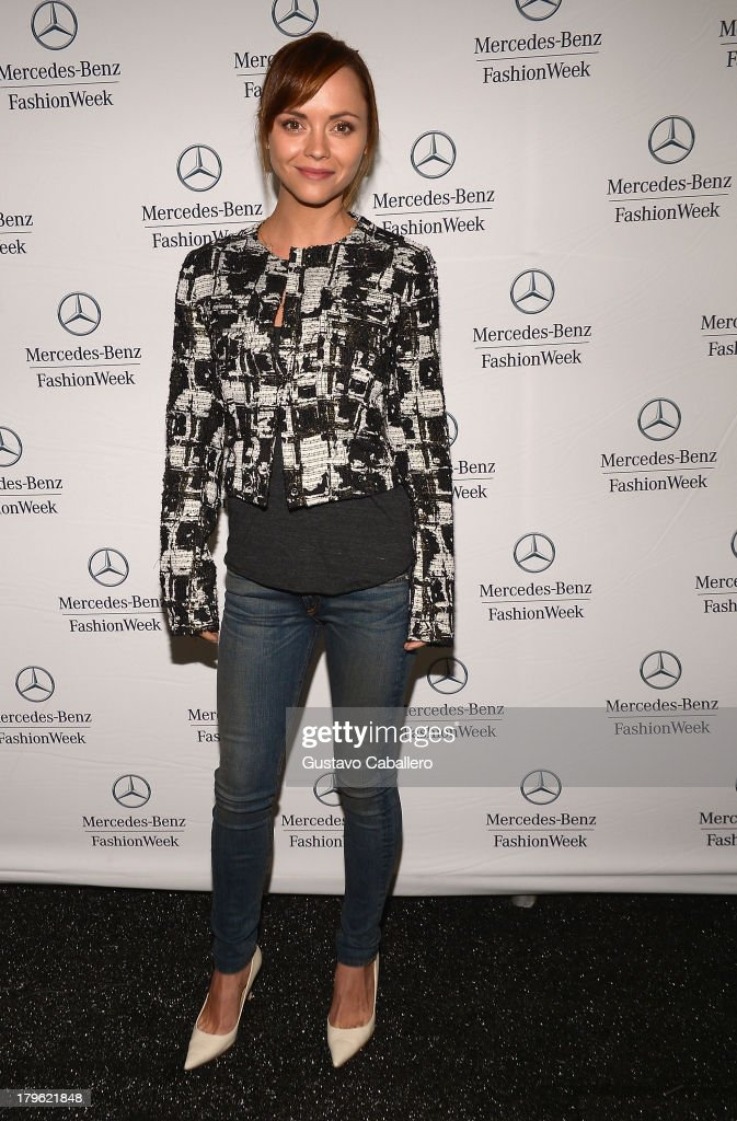 <a gi-track='captionPersonalityLinkClicked' href=/galleries/search?phrase=Christina+Ricci&family=editorial&specificpeople=239510 ng-click='$event.stopPropagation()'>Christina Ricci</a> is seen around Lincoln Center - Day 1 - Mercedes-Benz Fashion Week Spring 2014 at Lincoln Center for the Performing Arts on September 5, 2013 in New York City.