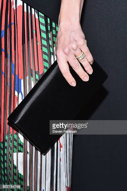 Christina Ricci ring detail and clutch detail attends Amazon's New Series 'Z The Beginning of Everything' Premiere at SVA Theater on January 25 2017...