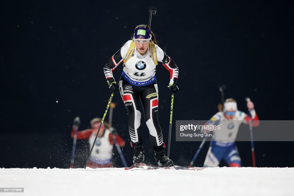 Christina Rieder of Austria competes during the Woman 7.5km Sprint during the BMW IBU World Cup Biathlon 2017 - test event for PyeongChang 2018 Winter Olympic Games at Alpensia Biathlon Centre on March 2, 2017 in Pyeongchang-gun, South Korea.