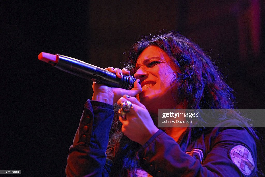 Christina Scabbia of Lacuna Coil performs at The Tabernacle on April 24, 2013 in Atlanta, Georgia.
