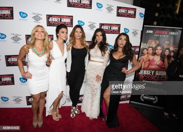 Christina Scaglione Danielle Dallacco Jenni Farley Angelica Boccella Nicole Rutigliano attend the 'Jersey Shore Massacre' New York Premiere at AMC...