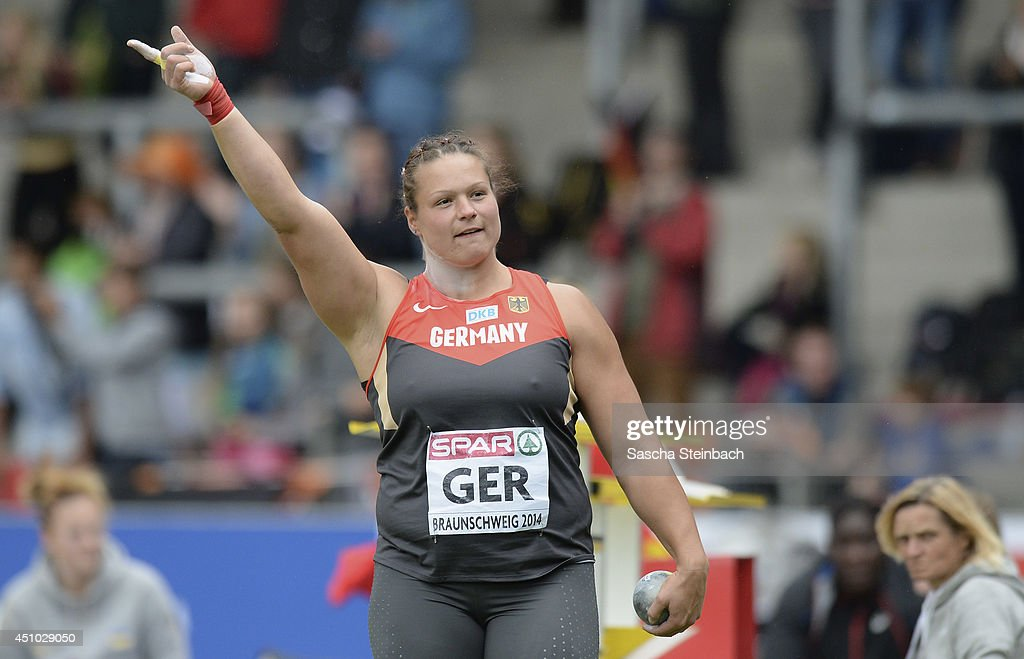 <a gi-track='captionPersonalityLinkClicked' href=/galleries/search?phrase=Christina+Schwanitz&family=editorial&specificpeople=2287569 ng-click='$event.stopPropagation()'>Christina Schwanitz</a> of Germany celebrates during the Women's Shot Put during second day of the European Athletics Team Championship at Eintracht Stadion on June 22, 2014 in Braunschweig, Germany.