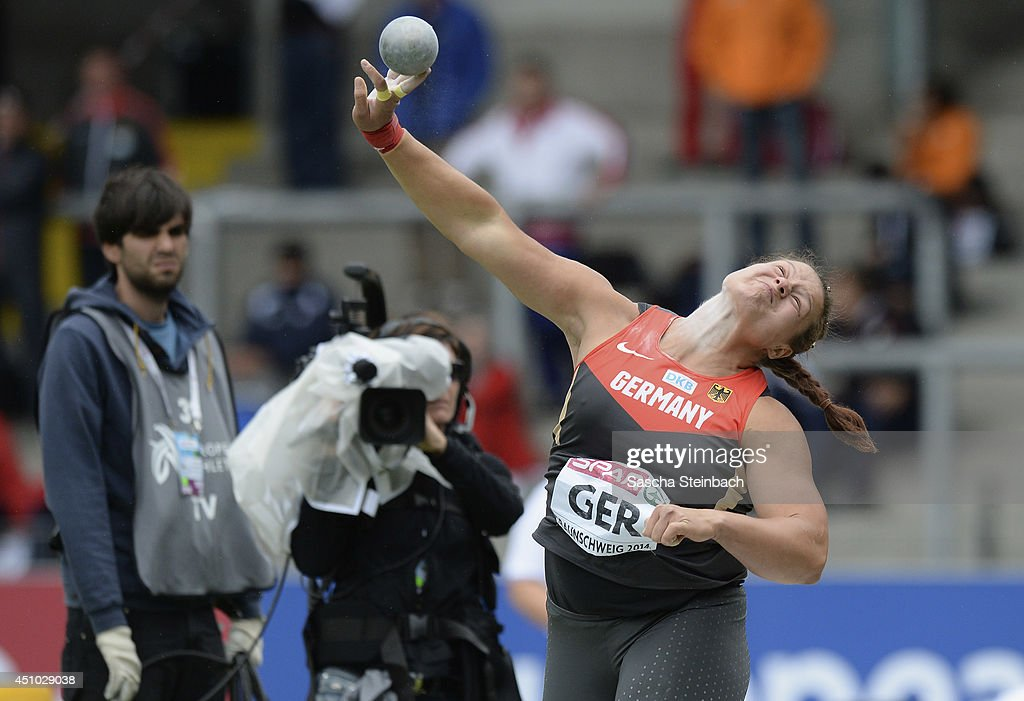 <a gi-track='captionPersonalityLinkClicked' href=/galleries/search?phrase=Christina+Schwanitz&family=editorial&specificpeople=2287569 ng-click='$event.stopPropagation()'>Christina Schwanitz</a> of Germany competes in the Women's Shot Put during second day of the European Athletics Team Championship at Eintracht Stadion on June 22, 2014 in Braunschweig, Germany.