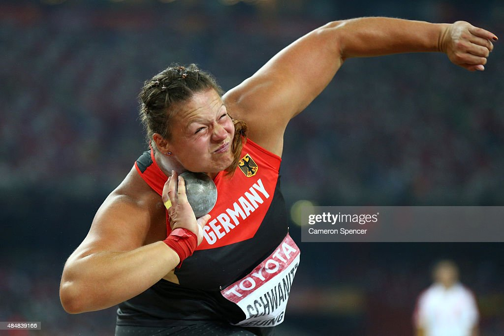 <a gi-track='captionPersonalityLinkClicked' href=/galleries/search?phrase=Christina+Schwanitz&family=editorial&specificpeople=2287569 ng-click='$event.stopPropagation()'>Christina Schwanitz</a> of Germany competes in the Women's Shot Put final during day one of the 15th IAAF World Athletics Championships Beijing 2015 at Beijing National Stadium on August 22, 2015 in Beijing, China.