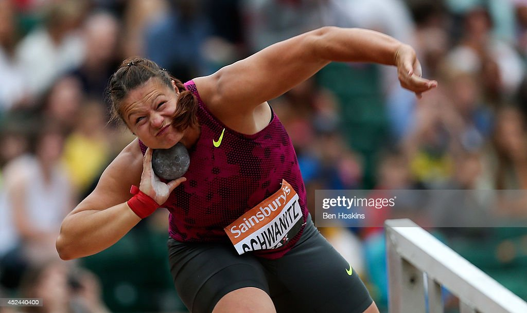 <a gi-track='captionPersonalityLinkClicked' href=/galleries/search?phrase=Christina+Schwanitz&family=editorial&specificpeople=2287569 ng-click='$event.stopPropagation()'>Christina Schwanitz</a> of Germany in action during the women's shot put at the Sainsbury's Anniversary Games at Horse Guards Parade on July 20, 2014 in London, England.