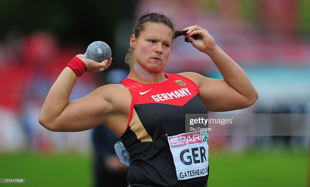 <a gi-track='captionPersonalityLinkClicked' href=/galleries/search?phrase=Christina+Schwanitz&family=editorial&specificpeople=2287569 ng-click='$event.stopPropagation()'>Christina Schwanitz</a> of Germany in action in the Womens Shot Put during day two of the European Athletics Team Championships at Gateshead International Stadium on June 23, 2013 in Gateshead, England.