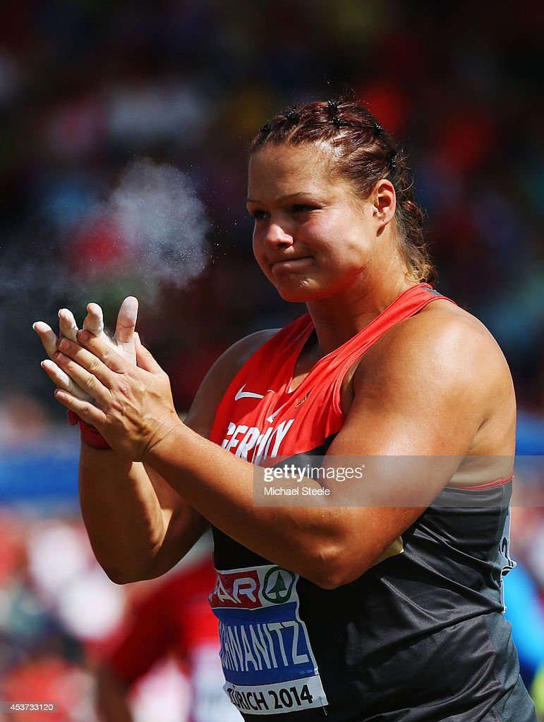 <a gi-track='captionPersonalityLinkClicked' href=/galleries/search?phrase=Christina+Schwanitz&family=editorial&specificpeople=2287569 ng-click='$event.stopPropagation()'>Christina Schwanitz</a> of Germany reacts as she competes in the Women's Shot Put final during day six of the 22nd European Athletics Championships at Stadium Letzigrund on August 17, 2014 in Zurich, Switzerland.