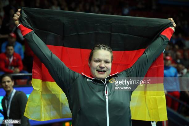 Christina Schwanitz of Germany wins gold in the Women's Shot Put Final during day three of European Indoor Athletics at Scandinavium on March 3 2013...