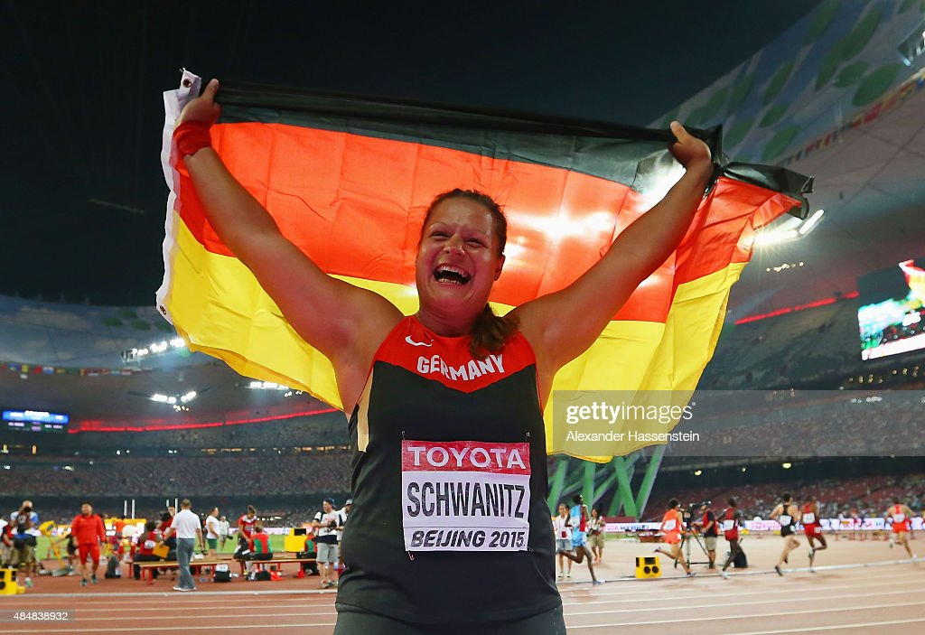 <a gi-track='captionPersonalityLinkClicked' href=/galleries/search?phrase=Christina+Schwanitz&family=editorial&specificpeople=2287569 ng-click='$event.stopPropagation()'>Christina Schwanitz</a> of Germany wins gold in the Women's Shot Put final during day one of the 15th IAAF World Athletics Championships Beijing 2015 at Beijing National Stadium on August 22, 2015 in Beijing, China.