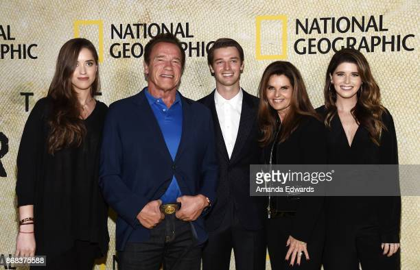 Christina Schwarzenegger Arnold Schwarzenegger Patrick Schwarzenegger Maria Shriver and Katherine Schwarzenegger arrive at the premiere of National...