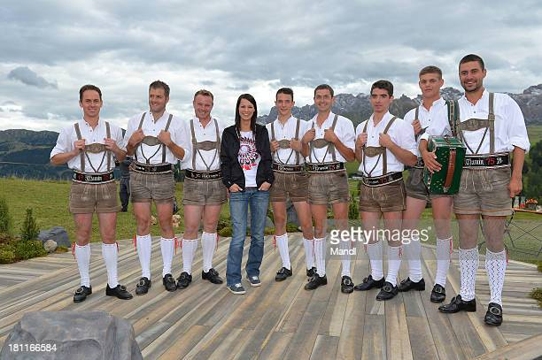 Christina Stuermer poses for media after the recording of the TV Show 'ZDF Fernsehgarten' at Seiser Alm near Kastelruth on September 18 2013 in...