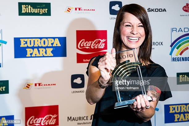 Christina Stuermer poses with her award prior to the Radio Regenbogen Award 2014 on April 11 2014 in Rust Germany