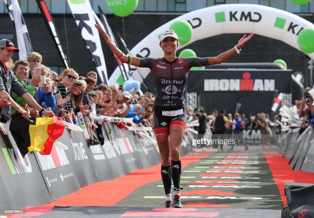 Christina Svejstrup of Belgium celebrates finishing third in the women's race at KMD IRONMAN Copenhagen on August 20, 2017 in Copenhagen, Denmark.