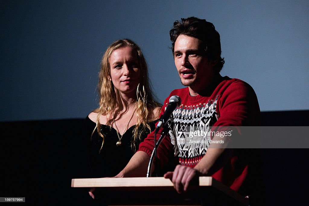 Christina Voros (L) and <a gi-track='captionPersonalityLinkClicked' href=/galleries/search?phrase=James+Franco&family=editorial&specificpeople=577480 ng-click='$event.stopPropagation()'>James Franco</a> speak onstage during the 'Kink' premiere at Egyptian Theatre during the 2013 Sundance Film Festival on January 19, 2013 in Park City, Utah.