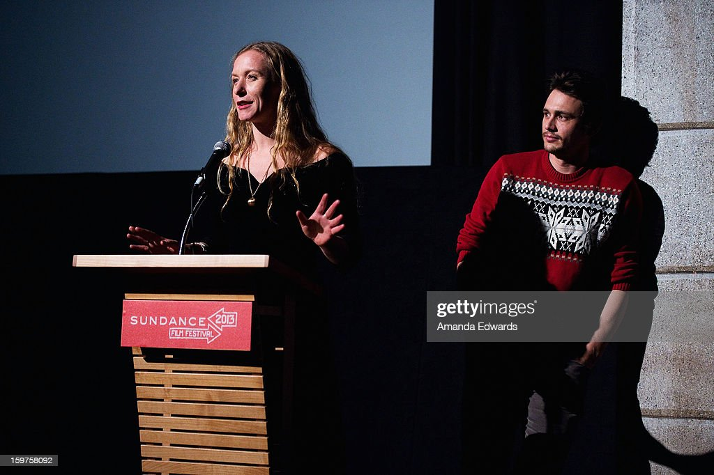 Christina Voros (L) and James Franco speak onstage during the 'Kink' premiere at Egyptian Theatre during the 2013 Sundance Film Festival on January 19, 2013 in Park City, Utah.