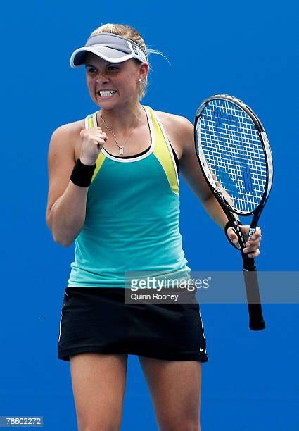 Christina Wheeler of Australia celebrates winning a point during her match against Olivia Rogowska of Australia during the Australian Open Wildcard...
