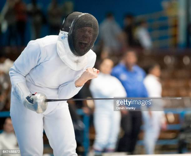 Christina Zozulya celebrates a victory during Cadet Women's Epee competition at the Cadet and Junior PanAmerican Fencing Championships on March 2...