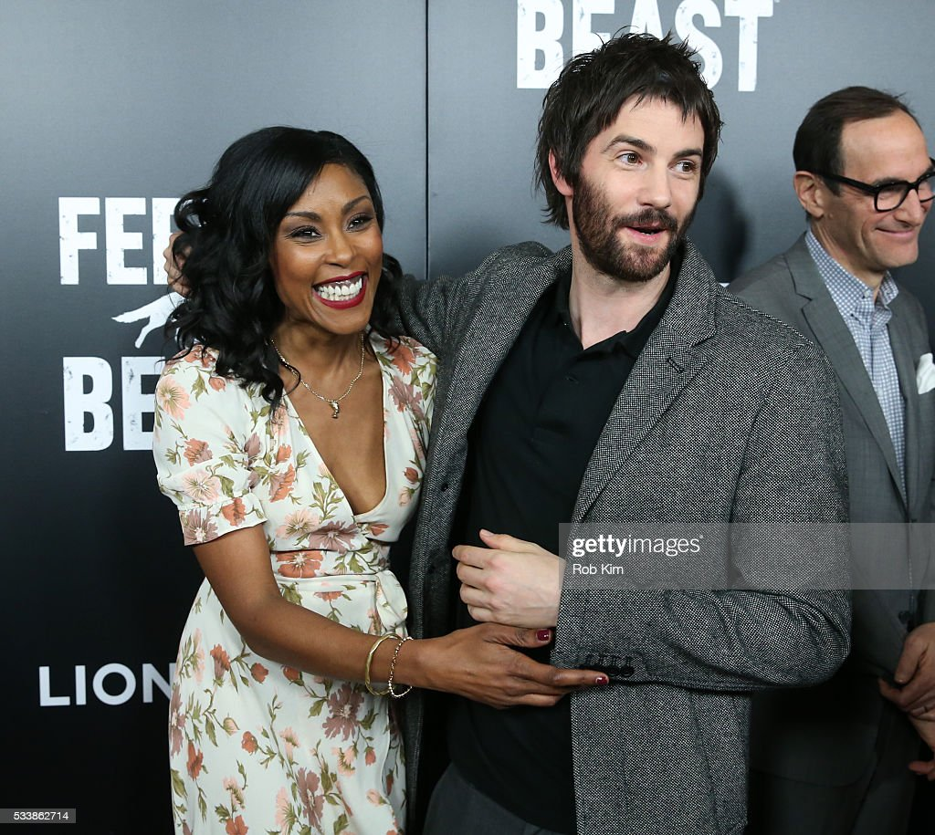 Christine Adams (L) and Jim Sturgess attend the New York Screening of 'Feed The Beast' at Angelika Film Center on May 23, 2016 in New York City.