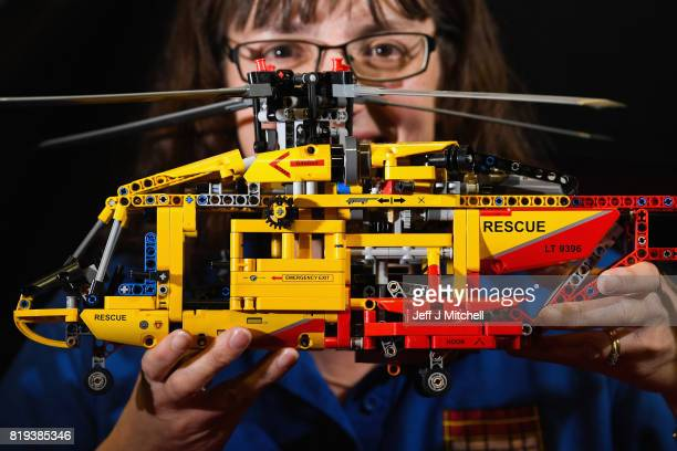 Christine Aird holds a Lego helicopter displayed at Bricklive at the Scottish Exhibition and Conference Center on July 20 2017 in Glasgow Scotland...