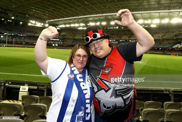 Christine and Robert Coleman of Bacchus Marsh are seen prior to the round 18 AFL match between the Essendon Bombers and the North Melbourne Kangaroos...