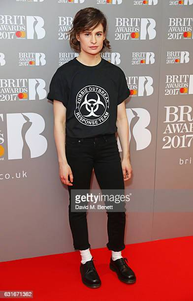 Christine and the Queens arrives at The BRIT Awards with Mastercard 2017 nominations show at ITV Studios on January 14 2017 in London England