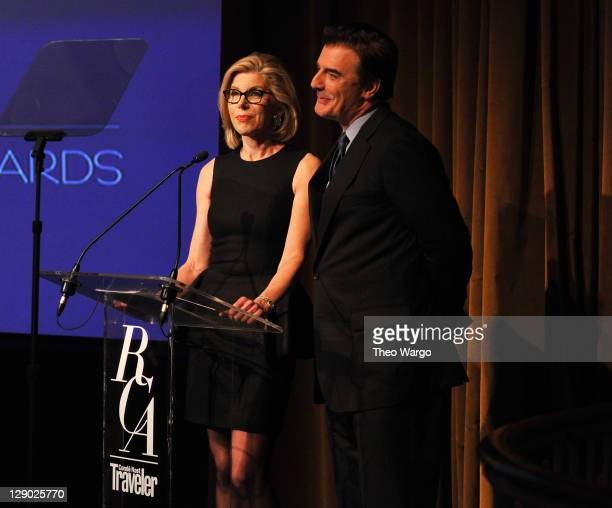 Christine Baranski and Chris Noth attend Conde Nast Traveler Readers' Choice Awards at The Edison Ballroom on October 10 2011 in New York City