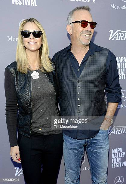 Christine Baumgardner and Kevin Costner attend Variety's 10 Producers to Watch Brunch at the Culinary Institute of America at Greystone during the...