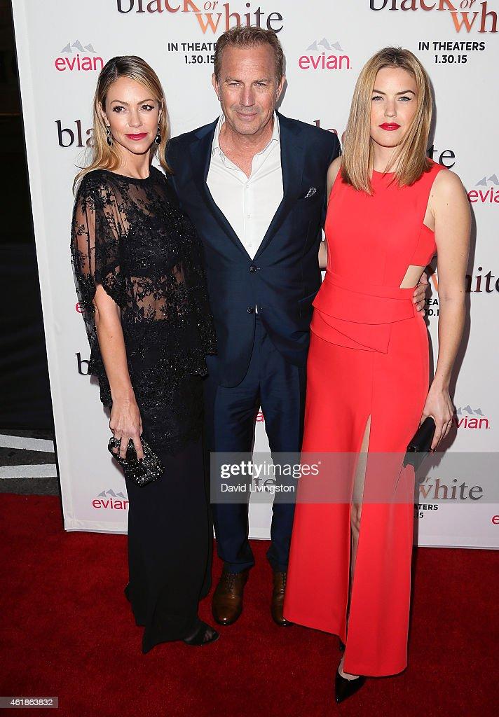 Christine Baumgartner actor Kevin Costner and Lily Costner attend the premiere of Relativity Media's 'Black or White' at Regal Cinemas LA Live on...
