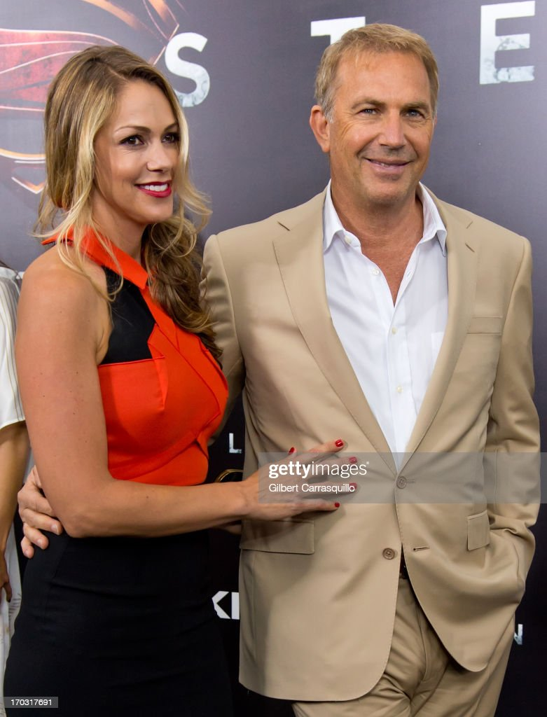 Christine Baumgartner and actor Kevin Costner attend 'Man Of Steel' World Premiere at Alice Tully Hall at Lincoln Center on June 10, 2013 in New York City.
