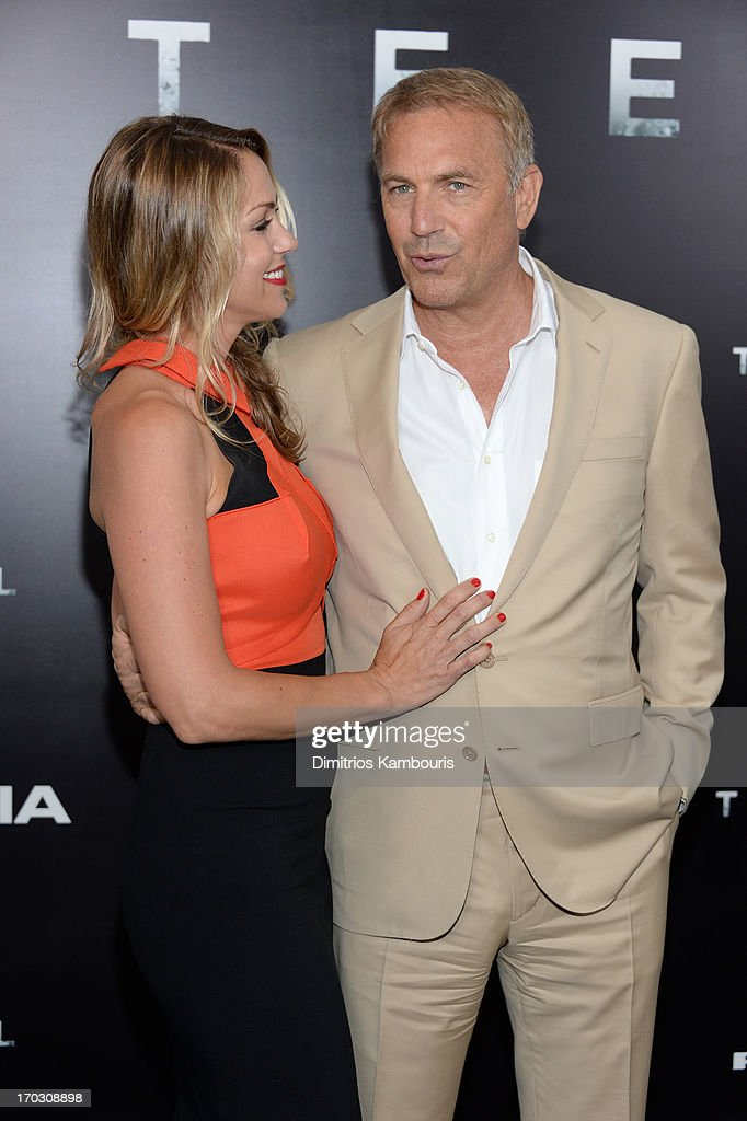 Christine Baumgartner and Actor Kevin Costner attend the 'Man Of Steel' world premiere at Alice Tully Hall at Lincoln Center on June 10, 2013 in New York City.
