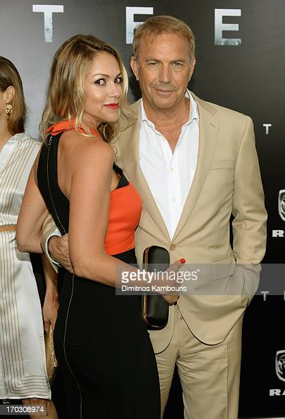 Christine Baumgartner and Actor Kevin Costner attend the 'Man Of Steel' world premiere at Alice Tully Hall at Lincoln Center on June 10 2013 in New...