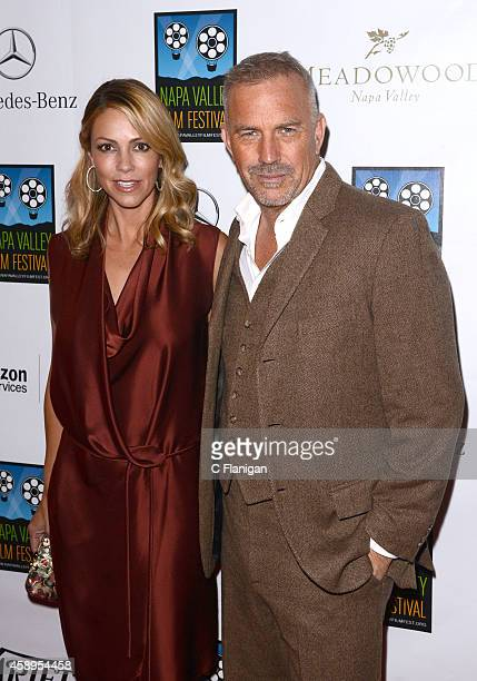 Christine Baumgartner and Kevin Costner attend the screening of 'Black or White' during the Napa Valley Film Festival on November 13 2014 in Napa...