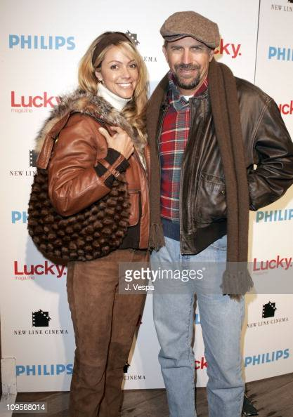 Christine Baumgartner and Kevin Costner during 2005 Park City 'Upside of Anger' Dinner and After Party hosted by Lucky Magazine at Village at the...