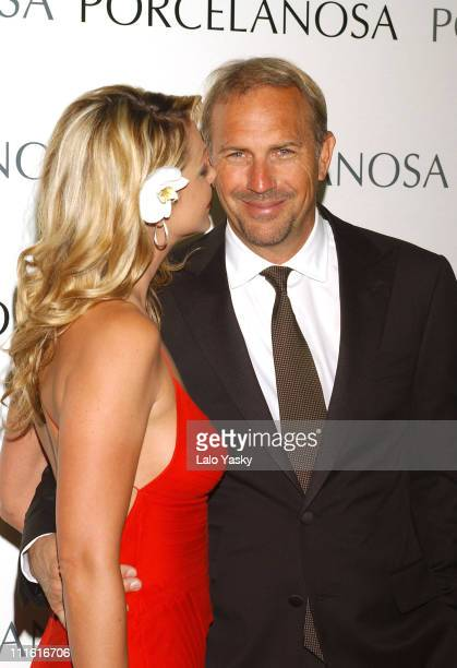 Christine Baumgartner and Kevin Costner during Kevin Costner and Christine Baumgartner at Porcelanosa Store Launch at Porcelanosa Store in Madrid...