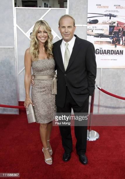 Christine Baumgartner and Kevin Costner during 'The Guardian' Washington DC Premiere at The Uptown Theater in Washington DC United States