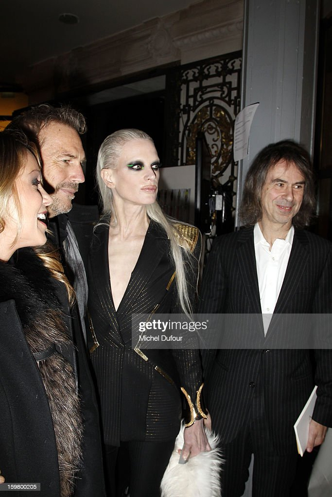 Christine Baumgartner, Kevin Costner, Kristen McMenamy and Ivor Braka attend the Versace Spring/Summer 2013 Haute-Couture show as part of Paris Fashion Week at Le Centorial on January 20, 2013 in Paris, France.