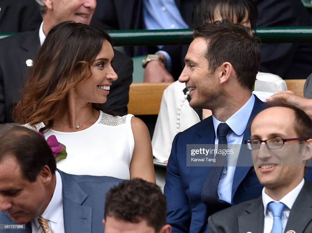 Christine Bleakley and Frank Lampard attend the ladies singles final between Eugenie Bouchard and Petra Kvitova on centre court during day twelve of...
