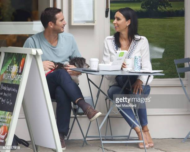 Christine Bleakley and Frank Lampard seen having coffee at Daylesford before walking their dog in Westbourne Grove on August 4 2017 in London England