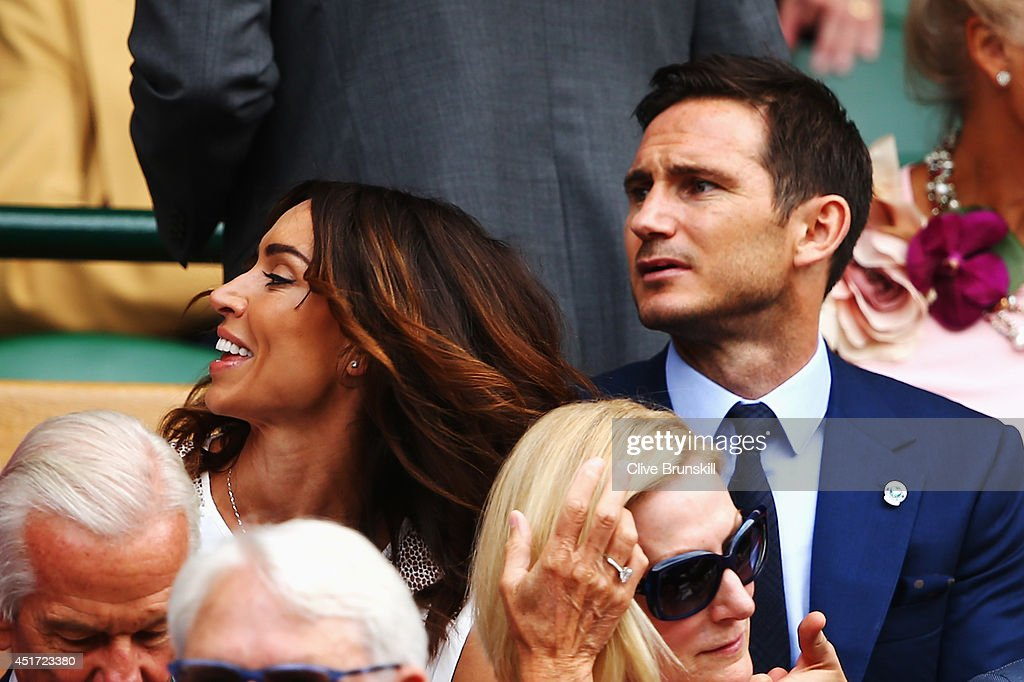 Christine Bleakley and Frank Lampard sit in the Royal Box on Centre Court before the Ladies' Singles final match between Eugenie Bouchard of Canada...