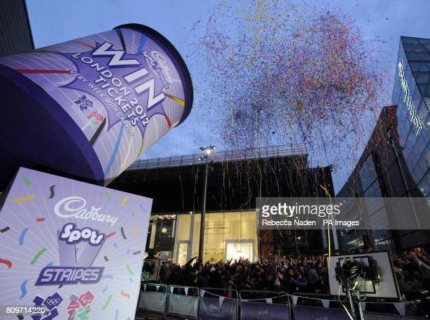 Christine Bleakley at Westfield in Stratford where she pulls the string on a giant Cadbury's party popper to launch an Olympics and Paralympic ticket...