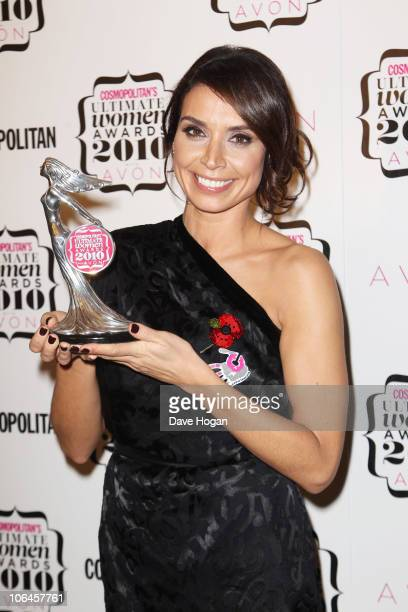 Christine Bleakley poses with her Best TV Presenter award in the press room at the Cosmopolitan Ultimate Women of the Year awards 2010 held at...