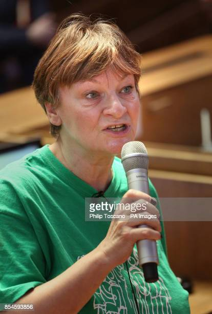 Christine Blower the General Secretary of the NUT addresses teachers at the Emmanuel Centre London as they lobby parliament to highlight their...