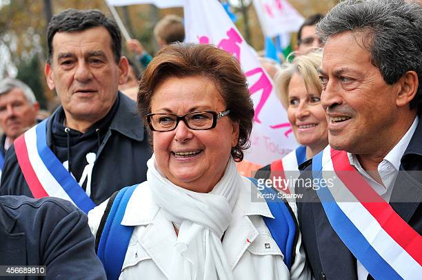 Christine Boutin attends 'La Manif Pour Tous' on October 5 2014 in Paris France An estimated 500000 protesters lined the streets of Paris today to...