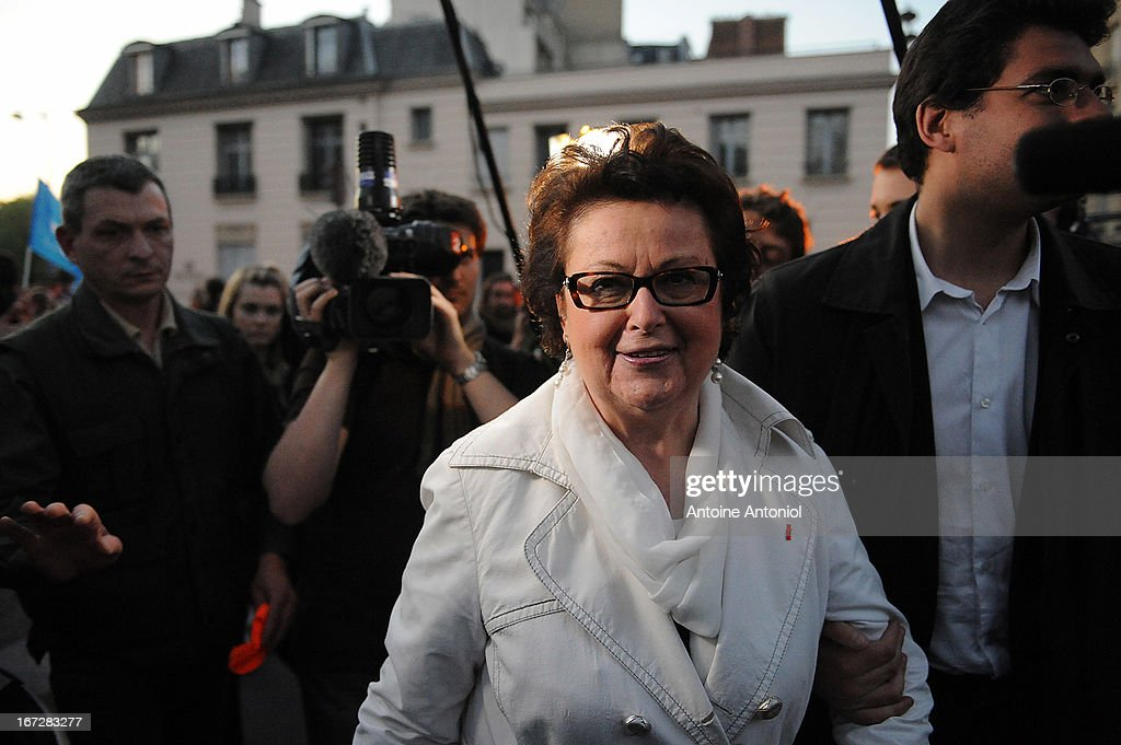 <a gi-track='captionPersonalityLinkClicked' href=/galleries/search?phrase=Christine+Boutin&family=editorial&specificpeople=4055950 ng-click='$event.stopPropagation()'>Christine Boutin</a>, leader of the French Christian Democratic Party, protests during a demonstration, a few hours after the French Parliament adopted gay marriage law at the Assemblee Nationale on April 23, 2013 in Paris, France. The bill was approved by a vote in Parliament of 331 to 225.
