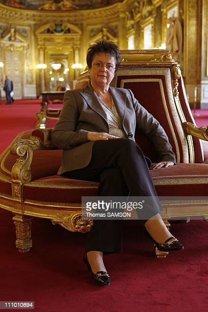 Christine Boutin Minister of Housing and Urban Affairs at the Senate to present her law project on housing in Paris France on Octorber 14th 2008
