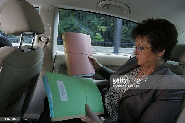 Christine Boutin Minister of Housing and Urban Affairs on her way to the Senate to present her law project on housing in Paris France on Octorber...