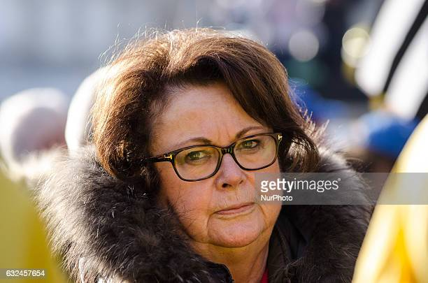 Christine Boutin take part in a march to protest against abortion in Paris on January 22 2017 Tens of thousands of protesters took to the streets of...