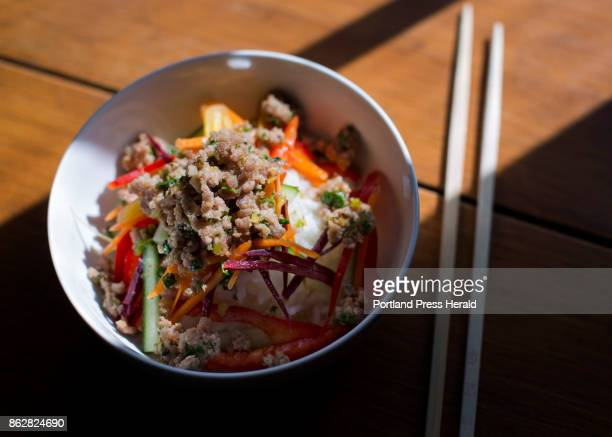 Christine Burns Rudalevige makes Crispy Pork and Vegetable Rice Bowl