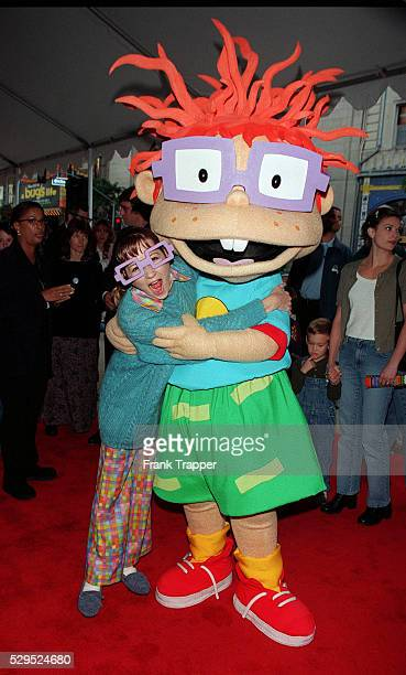 Christine Cavanaugh the voice of Chuckie gets a hug from the real Chuckie